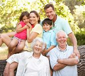 pic of 70-year-old  - Portrait Of Extended Family Group In Park - JPG