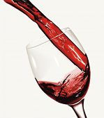 picture of wine-glass  - Red wine pouring  - JPG