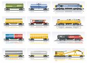 foto of hoppers  - Vector railroad transportation icon set - JPG