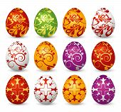 picture of easter-eggs  - Twelve colored easter eggs over white background - JPG