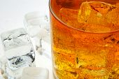 picture of iced-tea  - A glass of Ice Tea with a ice cubes - JPG