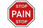 image of muscle pain  - A bright red stop sign over white with a pain message - JPG