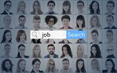 Internet And Job Search Concept - Search Bar Over Collage Of People Faces poster