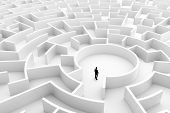 Businessman in the middle of the maze. Concepts of finding a solution, problem solving, challenge et poster