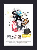 Sale and Discounts, Sale Poster, Sale Banner, Sale Flyer, Upto 40% off on all brands, Footwear Sale, poster