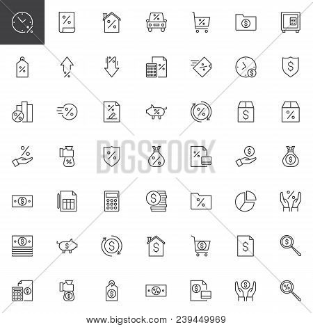 poster of Banking Outline Icons Set. Linear Style Symbols Collection, Line Signs Pack. Vector Graphics. Set In