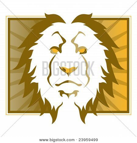 Picture or Photo of Lion head outline on an abstract background