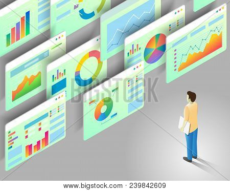 poster of Data Analytics Concept. Vector Isometric Illustration Of Man Looking At Business Statistics Charts A