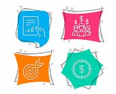 Set Of Target, Document And Salary Employees Icons. Dollar Target Sign. Targeting, File With Diagram poster
