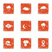 Climate Control Icons Set. Grunge Set Of 9 Climate Control Vector Icons For Web Isolated On White Ba poster