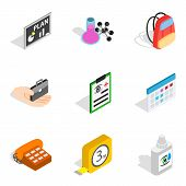 Research Area Icons Set. Isometric Set Of 9 Research Area Vector Icons For Web Isolated On White Bac poster