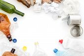 Recyclable Waste, Resources. Clean Glass, Paper, Plastic And Metal On White Background. Copyspace Fo poster