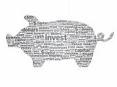 stock photo of nest-egg  - Piggy Bank illustration with words on white background - JPG