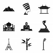 World Journey Icons Set. Simple Set Of 9 World Journey Vector Icons For Web Isolated On White Backgr poster