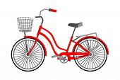 Vector Flat Illustration Of A City Bicycle. Single Bike With Front Wicker Basket. Cycling Concept, I poster