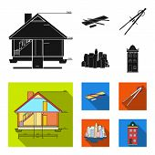 Drawing Accessories, Metropolis, House Model. Architecture Set Collection Icons In Black, Flat Style poster
