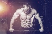 Brutal Muscular Man With Beard Train In The Gym Unshaven Fitness Model Healthcare Lifestyle With Top poster