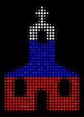 Halftone Christian Church Icon Colored In Russia Official Flag Colors On A Dark Background. Vector P poster
