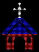 Halftone Christian Church Pictogram Colored In Russian Official Flag Colors On A Dark Background. Ve poster