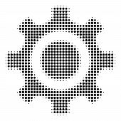 Pixel Black Cogwheel Icon. Vector Halftone Collage Of Cogwheel Pictogram Formed With Circle Items. poster