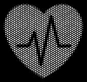 Dot White Cardiology Icon On A Black Background. Vector Halftone Concept Of Cardiology Symbol Made W poster