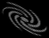 Dot White Galaxy Icon On A Black Background. Vector Halftone Pattern Of Galaxy Pictogram Organized F poster