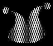 Dot White Joker Hat Icon On A Black Background. Vector Halftone Mosaic Of Joker Hat Pictogram Design poster