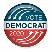 2020 Campaign Election Pin Button Or Badge W Patriotic Stars And Stripes Theme poster