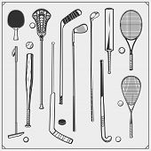 Set Of Sport Equipment. Polo, Ping Pong, Lacrosse, Baseball, Cricket, Golf, Squash, Hockey And Tenni poster