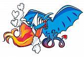 Cartoon Dragon Fell In Love. Illustration Of A Flying Dragon. Dragon Shape Of Heart Symbol. poster