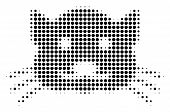 Pixelated Black Kitty Icon. Vector Halftone Collage Of Kitty Icon Done With Circle Pixels. poster