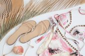 Summer Vacation Background. Flat Lay Beach Accessories, Top View Of  Palm Leaf, Beach Hat, Bikini ,  poster