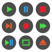 Colorful Media Player Control Buttons Set. Play, Pause, Stop, Record, Forward, Rewind, Previous, Nex poster