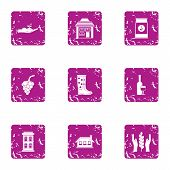 Grow The Culture Icons Set. Grunge Set Of 9 Grow The Culture Vector Icons For Web Isolated On White  poster