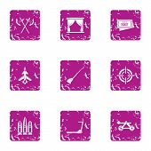Exhibition Of Medieval Icons Set. Grunge Set Of 9 Exhibition Of Medieval Vector Icons For Web Isolat poster
