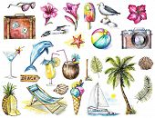 Set With Camera, Seagulls, Yacht, Sunglasses, Cocktail, Ice Cream, Pineapple, Dolphin, Signpost, Sea poster