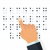 Blind Reading. Braille English Alphabet Letters. Finger Drives On Points. Writing Signs System For B poster