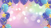Abstract Vector Background With Bokeh Effect And Vector Party Balloons Illustration.  Purple And Pin poster