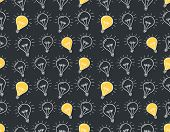 Seamless Pattern With Handdrawn Lightbulbs, Vector Eps10 Illustration poster