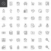 Banking Outline Icons Set. Linear Style Symbols Collection, Line Signs Pack. Vector Graphics. Set In poster