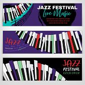 Jazz Festival Banners With A Piano Keyboard In Bright Colors. Editable Vector Illustration. Horizont poster