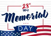 Memorial Day Usa, Remember & Honor And Flag On Light Stripes Background. Happy Memorial Day Vector B poster
