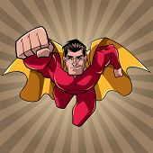 Front View Full Length Illustration Of Determined And Powerful Superhero Wearing Cape And Red Costum poster