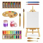 Artistic Tools And Art Supplies With Easel, Palette Paints Brush And Color Pencil Isolated Vector Se poster