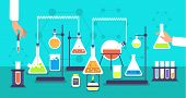 Chemical Equipment In Chemistry Analysis Laboratory. Science School Research Lab Experiment Vector B poster