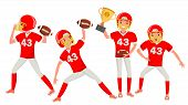 American Football Male Player Vector. Speed Strategy. Football Match Tournament. In Action. Cartoon  poster