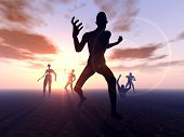 stock photo of festering  - A horde of zombies heading for their next victim - JPG