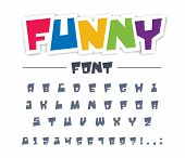 Funny, Cute, Child Font Type. Comic, Cartoon, Fun, Happy Kid Alphabet. Letters, Numbers Typeset For  poster