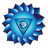 Vishuddha Chakra. Fifth, Throat Chakra Symbol. Isolated Vector Icon poster