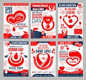 Donate Blood Promo Poster For Blood Donor Center And Transfusion Laboratory Template. Heart With Red poster
